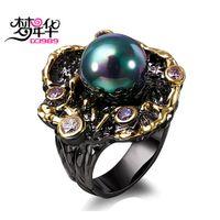 ingrosso colore bague-Dreamcarnival1989 Eleganti anelli unici vintage per le donne Viola CZ Bague Colore nero oro Anillos Mujer creati effetti AB Perla