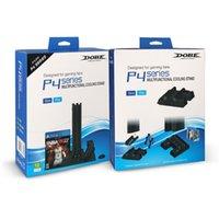 controlador ps4 más frío al por mayor-Soporte vertical para el ventilador de enfriamiento de la estación de carga del controlador dual dual PS4 Pro Slim con ranuras para almacenamiento de juegos