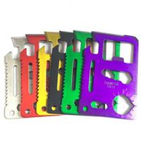 açık mini bıçak kartı toptan satış-Mini Paslanmaz Çelik Cep Cüzdan Kredi Kartı Bıçak 11 In 1 Çok Araçları Yürüyüş Avcılık Kamp Survival Açık Havada Dişli Hayat Tasarrufu aracı