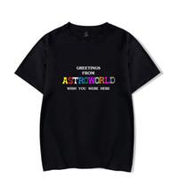 camiseta de verano negro blanco al por mayor-2018 Summer Mens Tshirt Travis Scotts ASTROWORLD Negro Blanco Azul Gris Cuello Redondo Camiseta Letras Imprimir Hip pop Rapper T