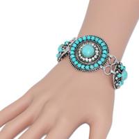7f8b7ffd3c72 Venta al por mayor - Pulseras de bohemia azul turquesa para las mujeres  Enlace de plata pulsera de cuentas de cadena con piedras Retro Vintage  Joyería ...
