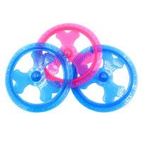 mavi köpek oyuncakları toptan satış-TPR Aydınlık Frizbi Köpek Oyuncak Uçan Disk Şekli Köpek Eğitim Atma Oyuncaklar Pembe Mavi 10 2 hz Z R