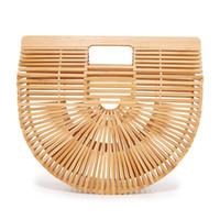bambushandtaschen großhandel-Bambus Designer Marke Tasche Mode Womens Reine Hand Made Handtasche Half Runde Form Eco Friendly Luxus Taschen 63zz2 jj
