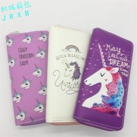 Wholesale multicolor ladies wallet for sale - Group buy Lady Cute Unicorn Long Zipper Purse PU Cartoon Animal Wallet Student Novelty Clutch Bag The Explosion In Stock jr W