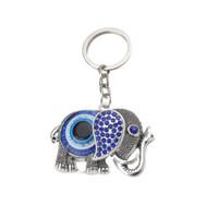 nuevo llavero afortunado al por mayor-MALO OJO nueva moda elefante azul encanto llaveros amuleto de la suerte mal de ojo para mujer hombre coche colgante joyería llavero