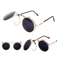 gafas de sol redondas al por mayor-Gafas de sol de lujo VINTAGE Gafas de sol Round Flip Designer steam punk Gafas de sol de metal mujer Gafas retro CIRCLE SUN GLASSES