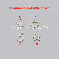 Wholesale Fashion Jewelry Parts Accessories - Free shipping little charm tags stainless steel necklace bracelet small pendant fashion jewelry accessories DIY parts 100pcs