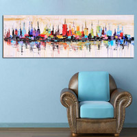Wholesale Canvas Wall Art New York - New York City Picture Canvas Painting for Living Room Wall Art Decor , Hand painted Modern Abstract Oil Painting on Canvas