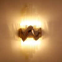 Wholesale contemporary lightings - Luxury noble post modern minimalism led wall lights creative crystal European aisle background wall lamps bed head bedroom wall lightings