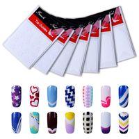 nagellack-aufkleber französisch großhandel-Belen 1pack Französisch Nail Tips Sticker Nail Art DIY Aufkleber UV Gel Polish Sticker Maniküre Formen Fringe Guides