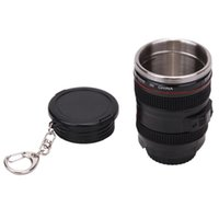 Wholesale Colored Glass Mugs - Mini Stainless Steel amera Lens Mug Creative Portable 60ml Bottle Keychain Liquor Keychain Travel Shot Glass Cup 100pcs LJJO4591