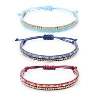 acryl quadratischen armband großhandel-Mode Doppelschicht Quadrat Acryl Suchen Perlen Armband Frauen Handgemachte Geflochtene Seil Armbänder für Frauen Schmuck Geschenk