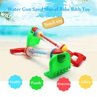 Wholesale kids beach toys set - 2 IN 1 Water Gun Sand Shovel Rake Bath Toy Outdoor Fun Water Blaster Toys Bath Tub Beach Toys for Kids oth619