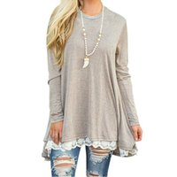 women s long sleeve tee shirts lace Australia - 2018 Summer T-shirt Women Long Sleeve Casual Lace Patchwork Tops Cotton Loose Tshirt Lady Top Tees Clothing T Shirt Plus Size Y1891304