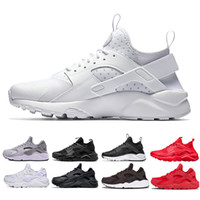 Wholesale red soled mens shoes online - 2018 New Huarache Ultra Run Shoes Air Sole Triple White Black Men Women Running Shoes huraches Red Grey Huaraches Sport Shoe Mens Womens