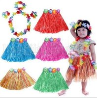Wholesale hawaiian accessories resale online - Hawaiian Grass Dance Skirt Game Performance Costumes Fans Cheer Accessories Party Decoration Hula Grass Skirt SET KKA5221