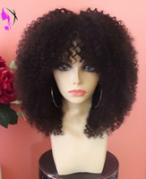 Wholesale Short Wigs For Women Blonde - New style afro Kinky Curly Synthetic front wig heat resistant for Black Women short curly wig With bangs