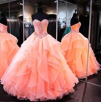 Wholesale layered evening gowns plus size - Coral Sweetheart Organza Ball Gown Quinceanera Dresses 2018 Lace Appliques Layered Ruffles Sweet 16 Plus Size Party Prom Evening Gowns BA911