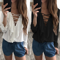 Wholesale women lace ruffle blouses - Fashion Woman Blouses 2018 Chiffon Blouse Sexy Lace Up V Neck Ruffles Long Sleeve Black White Tops Casual Plus Size Shirts