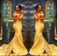 amarillo abaya al por mayor-African Black Girls amarillo sirena vestido de fiesta 2018 apliques de encaje fuera de los granos del hombro lentejuelas piso-longitud vestidos de noche abaya robe de
