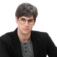 peruk saç toptan satış-Erkekler Sentetik Peruk Peruk Peruk Eropean Stil Popüler Saç Stili Dokuz Renk Seçimi Ile Farklı Saç