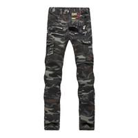çok pantolon pantolon kot toptan satış-Jantour Markalar Erkek Camo Biker Jeans Stil Kargo Taktik Motosiklet Çok Pantolon Ile Kot Pantolon Adam fermuar Pantolon