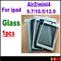 tablette 9,7 zoll weiß großhandel-1 stück lcd-bildschirm vorne äußere glaslinse für tablet pc für ipad 6 air 2 mini 4 9,7 10,5 12,9 zoll reparaturplatte schwarz weiß
