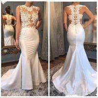 Wholesale vestidos fiesta wedding dresses for sale - Group buy 2018 Sexy Illusion Bodices Mermaid Wedding Dresses Jewel Neck Sleeveless Lace Appliques Bridal Gowns Custom Made Vestidos De Fiesta