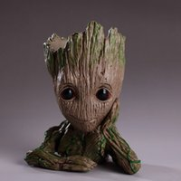 Wholesale toy pots online - Guardians of The Galaxy cm Baby Groot Figure Flowerpot Toy Flower Pen Pot Xmas Gift OOA5087