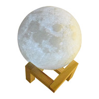 Wholesale ball port online - 3D printing moon lamp for decoration indoor globe D lighting simulation moon USB port led lamps