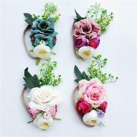 yapay tüysüz çiçekler toptan satış-Bohemia Bantlar Yapay Çiçekler Naylon Bandı Bebek kız Saç yaylar 2018 Plaj Tatil Saç aksesuarları Avrupa Butik mağaza Yeni