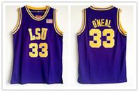 ingrosso pullover giallo di pallacanestro-Maglia Shaq Lsu # 33 Maglia Shaquille Oneal retro in NCAA college Jersey giallo viola Maglia da Ricamo uomo