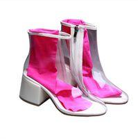 chaussures en caoutchouc femmes achat en gros de-2018 Mode Femmes Plat Transparent En Caoutchouc Clair Bottes De Pluie Dentelle jusqu'à La Cheville Bottes Femmes Chaussures De Mode Bottes Pour Femme