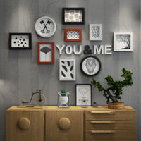 Wholesale picture frames sets for wall for sale - Group buy Photo Frames for Picture Wall Frames for Pictures Frame Family Home Black White Round Rectangle Photo Frame Set Hanging Wall Study Decor