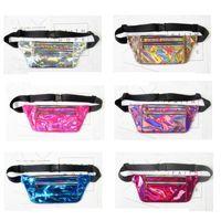 Wholesale festival boxes - Waist bag Jelly color Clear chest pack sparkle festival hologram Beach bag Women's Waistband 10 inch Waist bag BBA87