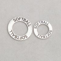 charmes d'affirmation achat en gros de-25mm 19mm Double Côté Rond Softball Affirmation Cercle Charmes Alliage Anneau Charmes 50pcs AAC1743