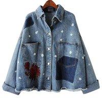 volle brüste großhandel-Mode 2018 Frühling Korea Vintage Frauen Einreiher Floral Stickerei Mäntel Weibliche Lose Volle Hülse Denim Jacken TOP Y1143