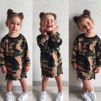 ropa de camuflaje gratis al por mayor-Las niñas niños vestidos de manga larga otoño invierno vestido de camuflaje ropa 1-6Y envío gratis