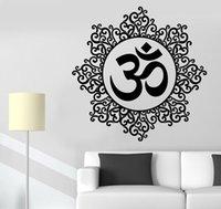 fondo de pantalla de loto en casa al por mayor-Papel tapiz extraíble indio espiritual Zen Lotus calcomanías de vinilo de yoga pegatinas de pared para la decoración de la habitación decoración para el hogar