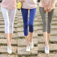 Wholesale milk silk leggings - Women Candy Color Tights Summer Capris Mid-Calf Elastic Milk Silk Leggings Slim Fit Skinny Leggings
