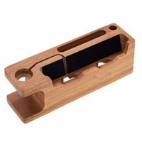 bambus-ladegerät großhandel-Echtes Bambus Holz Desktop Stand für iPad Tablet Halterung Docking Halter Ladegerät für iPhone Ladestation für Apple Watch
