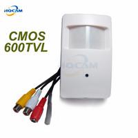 Wholesale Pir Cctv - HQCAM CMOS Color 600TVL CCTV security Camera Motion Detector PIR Indoor CCTV Mini cmos camera PIR Surveillance microphone