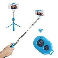 iphone штатив оптовых-Новый складной штатив монопод Selfie Stick Bluetooth с кнопкой Пау де Пало Selfie Stick для Android iPhone Perche селфи OTH758