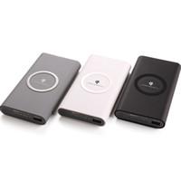 беспроводное зарядное устройство власти банка samsung оптовых-Портативное зарядное устройство Wireless Bank зарядное устройство для банкнот 8 xiaomi Iphone 7/8 / X Samsung Galaxy S7 / S8 10000 мАч Розничная упаковка