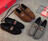 chaussures de sport en cuir marron hommes achat en gros de-Us size5.5 -10 Hommes Casual chaussures en cuir bleu / noir / marron chaussures plates occasionnels, hommes faits à la main Vintage mocassins