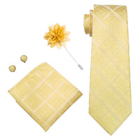 Wholesale new products business online - Luxury Mens Tie Golden pattern lattice Woven with Handkerchief Cuffs Corsage Wedding Dress Fashion New Products LDNX0031