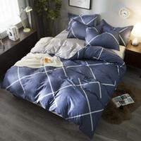 ingrosso set di biancheria plaid blu-Valanorean Design A + B Side Bedding Set Blu Plaid Text Copripiumino Set Copri federa, Flat Sheet King Twin Full Queen