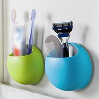 Wholesale suction cup wall hook - Bathroom Accessories Toothbrush Holder Wall Suction Cups Shower Holder Cute Sucker Toothbrush Holder Suction Hooks Bathroom Set