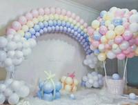 ingrosso palloncini misti-100pcs Mix Color Macaron Palloncini in lattice Matrimonio Festa di compleanno 2.2g Rosa Menta Rose Air Helix Lattice Baby Decor Baby Shower Girl
