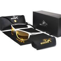 gafas de hombre polarizadas amarillas al por mayor-2019 Mens Polarized Night Driving Gafas de sol Hombres Diseñador de la Marca Amarillo Lente Visión Nocturna Gafas de Conducción Gafas Reduce Glare NX